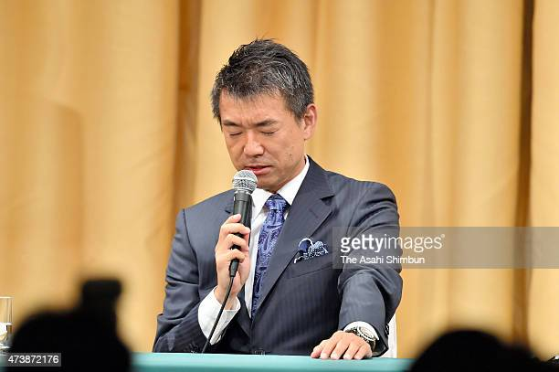 Osaka City Mayor Toru Hashimoto speaks during a press conference on May 17 2015 in Osaka Japan Voters here rejected the plan on whether to...