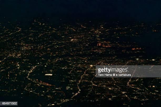 Osaka city, night aerial view from airplane