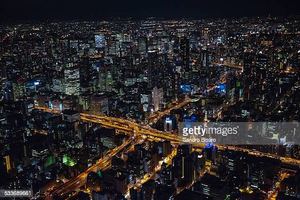 Osaka city with elevated highways at night