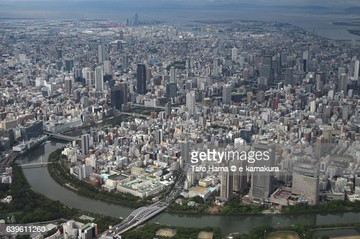 Osaka cityscape aerial view from airplane : ストックフォト