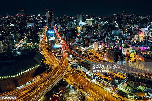 Osaka cityscape at night with highways