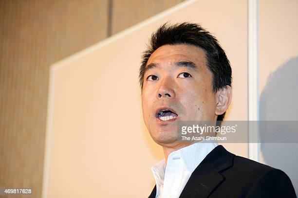Osaka Ishinnokai leader and Osaka City Mayor Toru Hashimoto speaks a day after the local general election at Osaka City Hall on April 13 2015 in...
