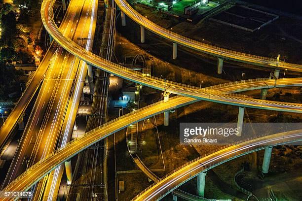 Osaka Riku Town Highways Aerial View at night