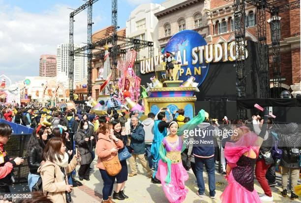 Osaka's Universal Studios Japan is crowded with visitors in this file photo taken March 16 2017 The amusement park drew a record number of visitors...