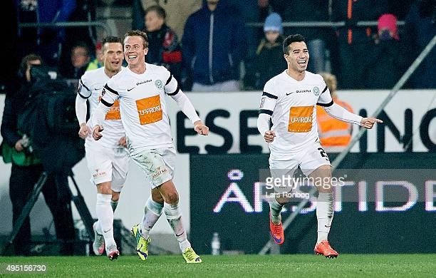 Osama Akharraz of Viborg FF celebrates after scoring their third goal during the Danish Alka Superliga match between FC Midtjylland and Viborg FF at...