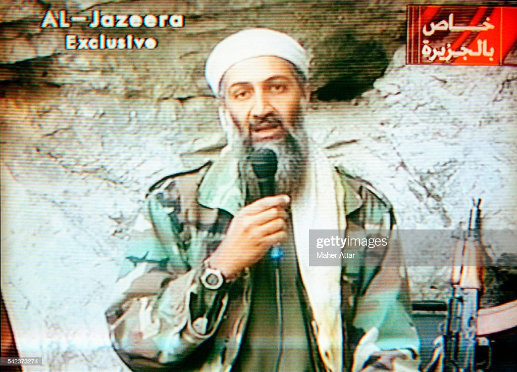 <a gi-track='captionPersonalityLinkClicked' href=/galleries/search?phrase=Osama+Bin+Laden&family=editorial&specificpeople=120827 ng-click='$event.stopPropagation()'>Osama Bin Laden</a> appears on Al-Jazeera Television praising the attacks of September 11th, and defying the United States in its threats to attack Afghanistan's Taliban government, which was playing host to him. Days later the U.S. overthrew the Taliban.
