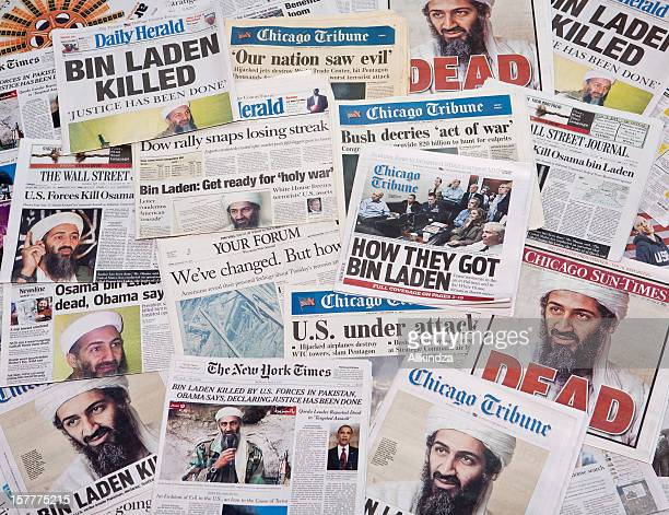 Osama Bin Laden before and after headline collage