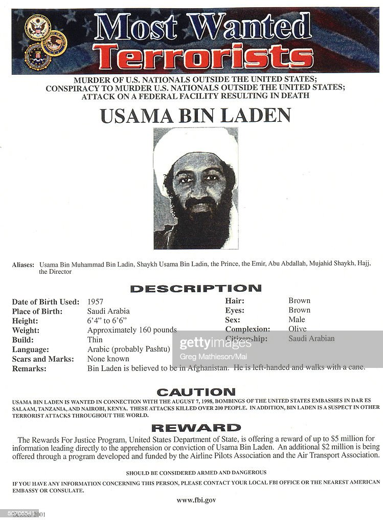 Osama Bin Laden pictured on FBI Most Wanted poster, an initiative of the War on Terrorism.