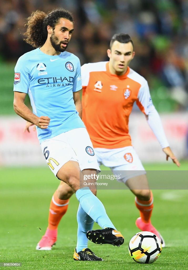 Osama Malik of the City passes the ball during the round one A-League match between Melbourne City FC and the Brisbane Roar at AAMI Park on October 6, 2017 in Melbourne, Australia.