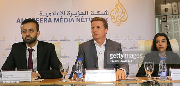 Osama Saeed Manager of Communications of Al Jazeera English Giles Trendle managing director of Al Jazeera English and Farah AlMuftah Head of...