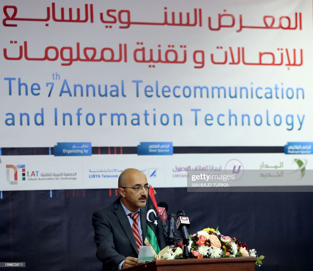 Osama Siala, Libyan minister of communications and information, addresses the opening of the seventh annual exhibition for Communications and Information Technology in the Libyan capital Tripoli, on January 21, 2013.