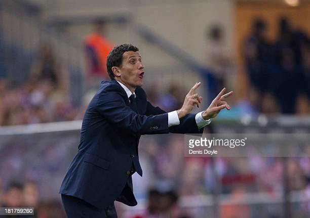 Osasuna head coach Javier Garcia reacts during the La Liga match between Atletico de Madrid and Osasuna at Vicente Calderon Stadium on September 24...