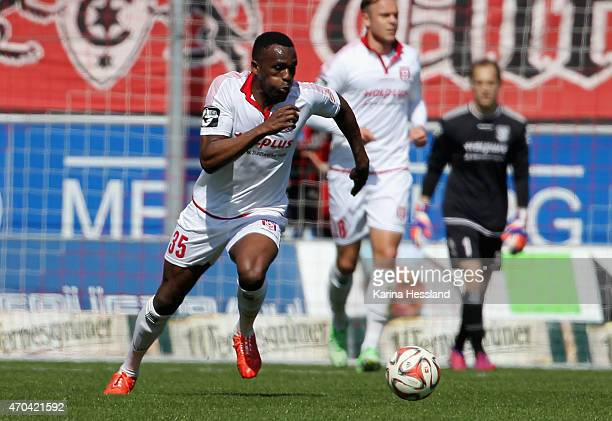 Osayamen Osawe of Halle during the Third League match between Hallescher FC and Kieler SV Holstein at Erdgas Sportpark on April 19 2015 in Halle...