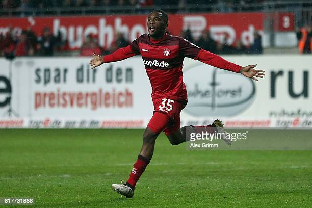 Osayamen Osawe of Kaiserslautern celebrates his team's second goal during the Second Bundesliga match between 1 FC Kaiserslautern and VfL Bochum 1848...