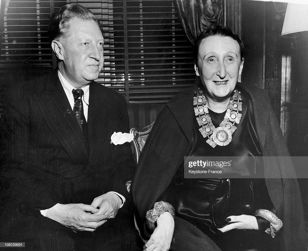 Osbert And Edith Sitwell, Brother And Sister, Both Writers And Poets During A Lunch Given In Their Honor At The Waldorf Astoria In New York, On August 11, 1948.