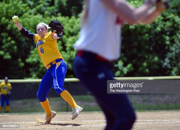 Osborn Oark pitcher Emily Weatherholtz throws from the mound during the Virginia 6A State Softball Semifinal game between Osbourn Park and Grassfield...
