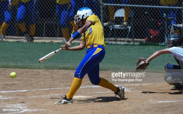 Osborn Park's Sierra Beaty gets a hit during the Virginia 6A State Softball Semifinal game between Osbourn Park and Grassfield at Westfield High...