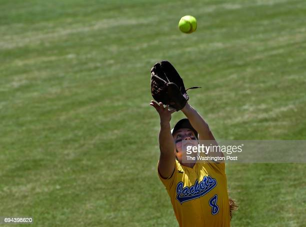Osborn Park's Sydney LaScola catches a pop fly during the Virginia 6A State Softball Semifinal game between Osbourn Park and Grassfield at Westfield...