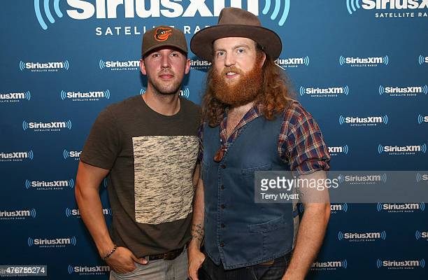 J Osborne and John Osborne of the Brothers Osborne arrive at the Superfan Concert series in SiriusXM Music Theater at the Bridgestone Arena on June...