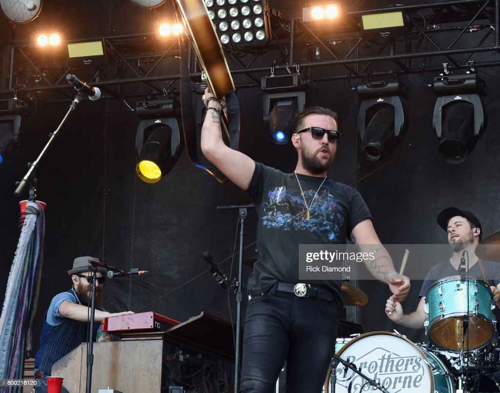 TJ Osborne of Brothers Osborne performs during Kicker Country Stampede - Day 2 at Tuttle Creek State Park on June 23, 2017 in Manhattan, Kansas.