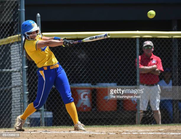 Osbourn Park's Sydney LoScola gets a hit during the Virginia 6A State Softball Semifinal game between Osbourn Park and Grassfield at Westfield High...