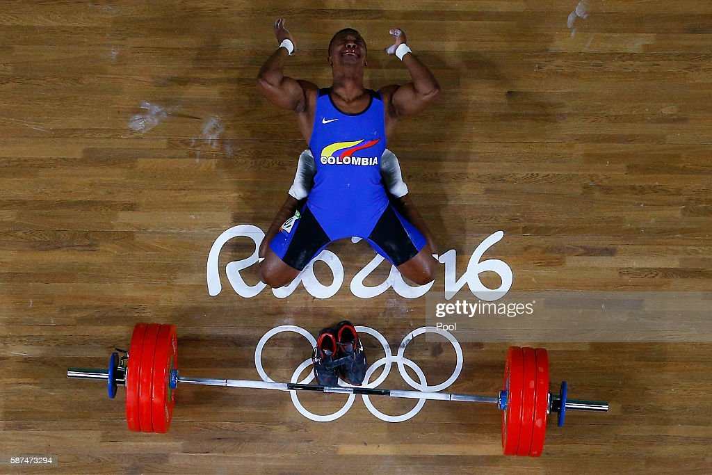 Oscar Albeiro Figueroa Mosquera of Colombia reacts during the Men's 62kg Group A weightlifting contest on Day 3 of the Rio 2016 Olympic Games at the Riocentro - Pavilion 2 on August 8, 2016 in Rio de Janeiro, Brazil.