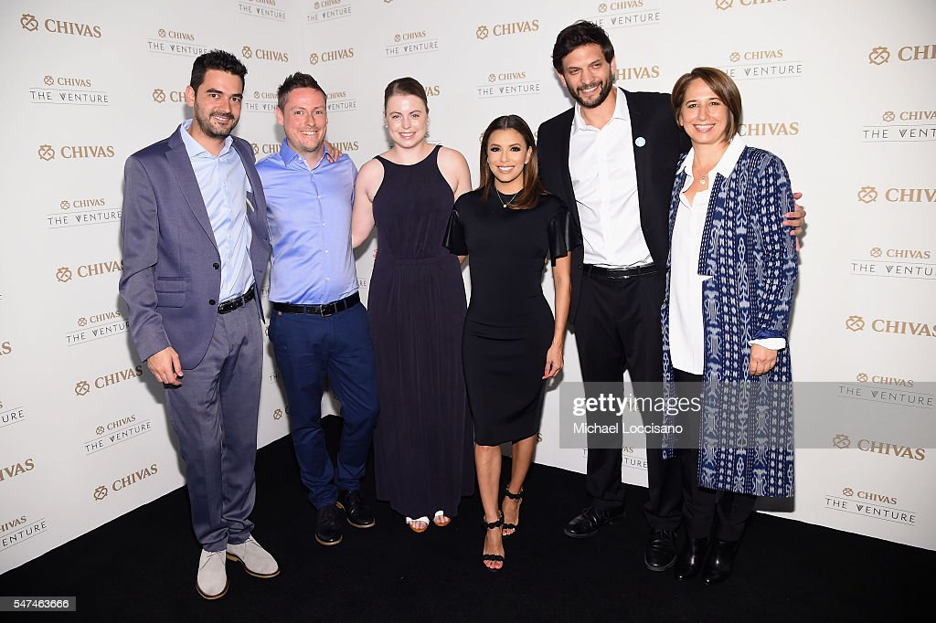 Oscar Andres Mendez, Kenny Ewan, Julia Romer, Eva Longoria, Or Retzkin and Maria Pacheco attend Chivas' The Venture Final Event on July 14, 2016 in New York City.