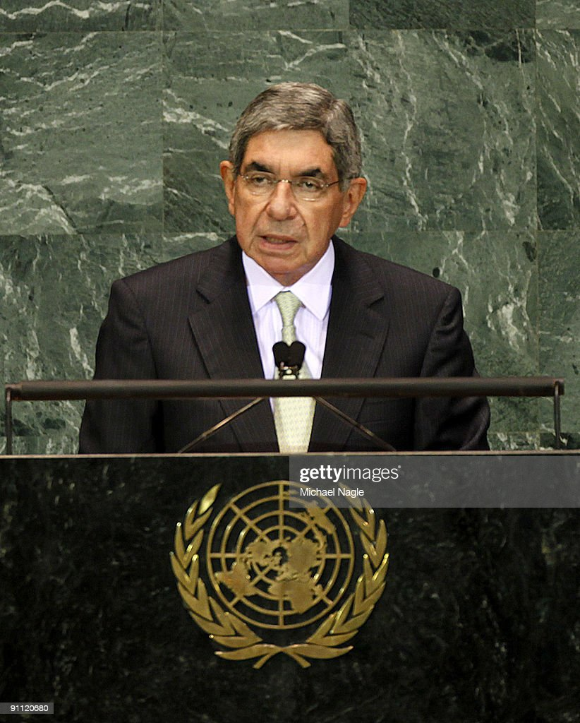 Oscar Arias, President of Costa Rica, addresses the United Nations General Assembly at the U.N. headquarters on September 24, 2009 in New York City. This is the 64th session of the United Nations General Assembly featuring leaders from over 120 countries.