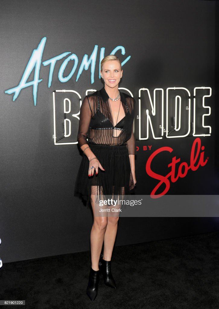 Oscar award-winning actress Charlize Theron attends the American premiere of Atomic Blonde at The Theatre At The Ace Hotel on July 24 in Los Angeles, California. Stoli Vodka is the vodka of Atomic Blonde, in theaters July 28.