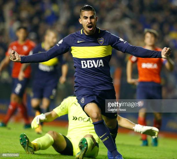 Oscar Benitez of Boca Juniors celebrates after scoring the second goal of his team during a match between Boca Juniors and Independiente as part of...