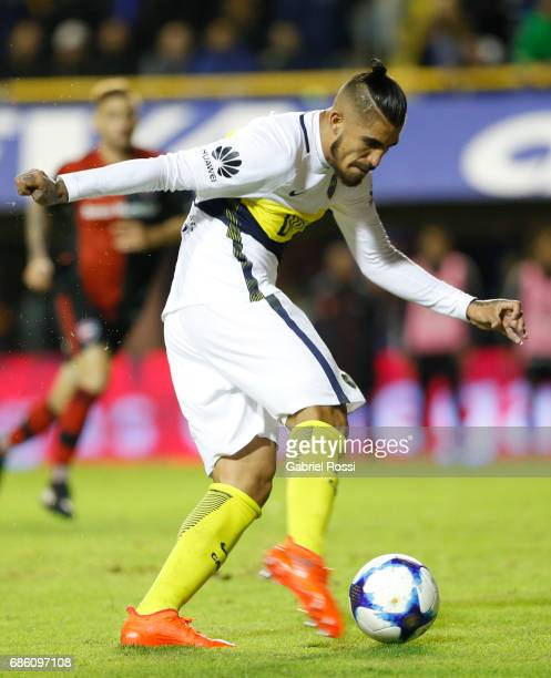 Oscar Benitez of Boca Juniors kicks the ball during a match between Boca Juniors and Newell's Old Boys as part of Torneo Primera Division 2016/17 at...