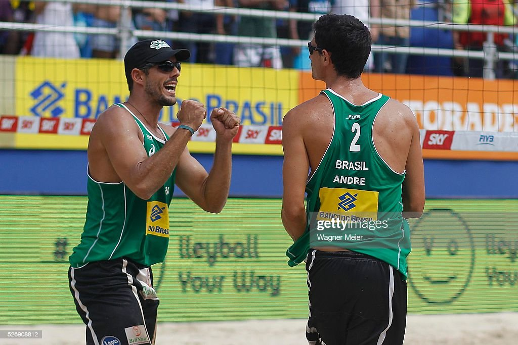 Oscar Brandao and Andre Loyola of Brazil in action during Gold Medal match against Germany during the FIVB Fortaleza Open on Futuro Beach on May 01, 2016 in Fortaleza, Brazil.