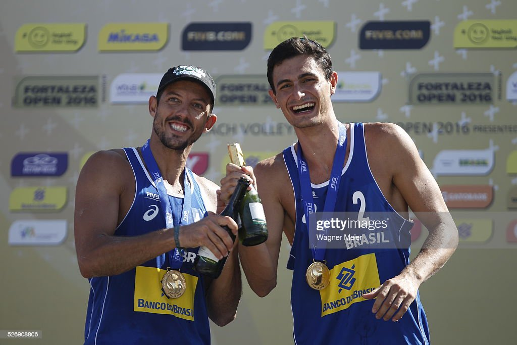 Oscar Brandao and Andre Loyola of Brazil, receive Gold Medal during the Men Awarding ceremony during the FIVB Fortaleza Open on Futuro Beach on May 01, 2016 in Fortaleza, Brazil.