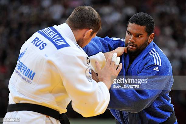 Oscar Brayson of Cuba fights against Alexander Mikhaylin during the bronze medal match of the men's over 100kg category of the World Judo...