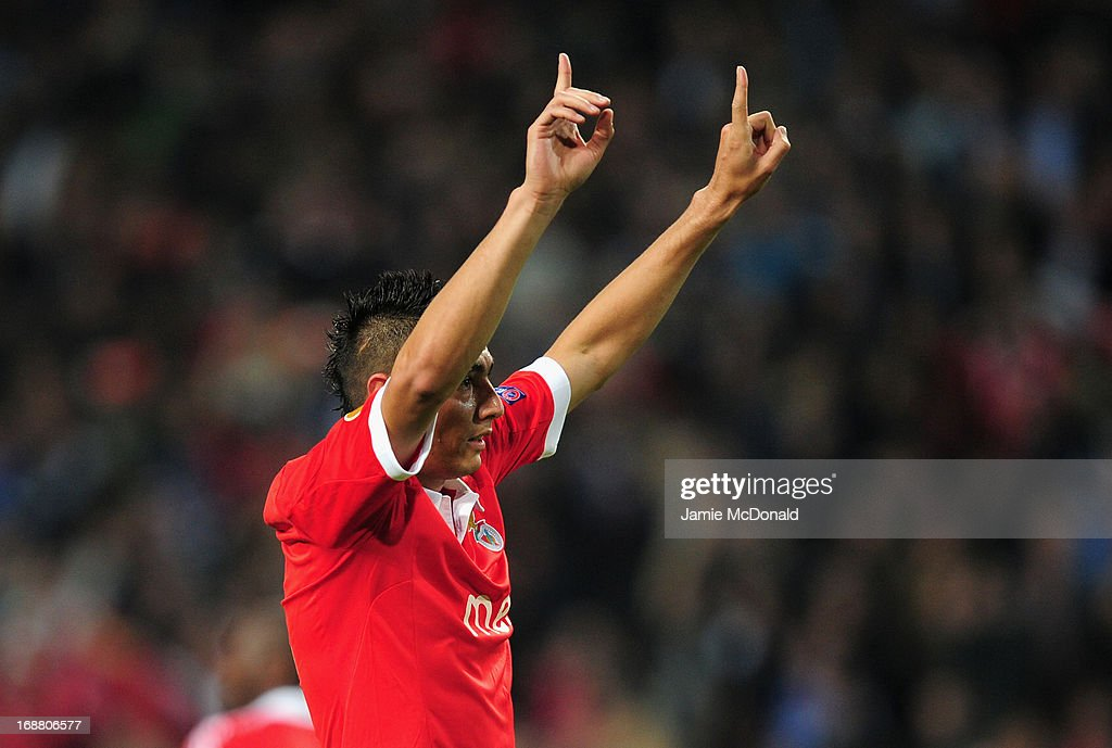 Oscar Cardozo of Benfica celebrates scoring their first goal from the penalty spot during the UEFA Europa League Final between SL Benfica and Chelsea FC at Amsterdam Arena on May 15, 2013 in Amsterdam, Netherlands.
