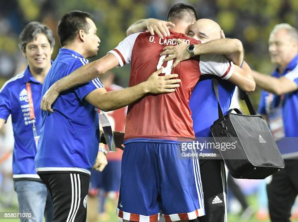 Oscar Cardozo of Paraguay celebrates after winning a match between Colombia and Paraguay as part of FIFA 2018 World Cup Qualifiers at Metropolitano...