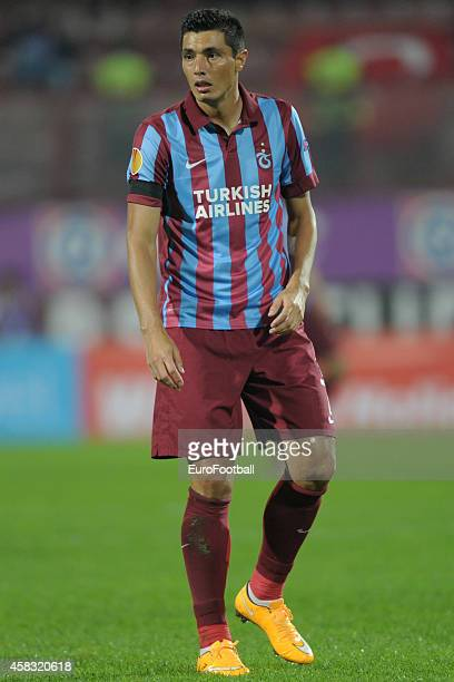 Oscar Cardozo of Trabzonspor AS in action during the UEFA Europa League Group L match between Trabzonspor AS and Legia Warszawa at the Hüseyin Avni...