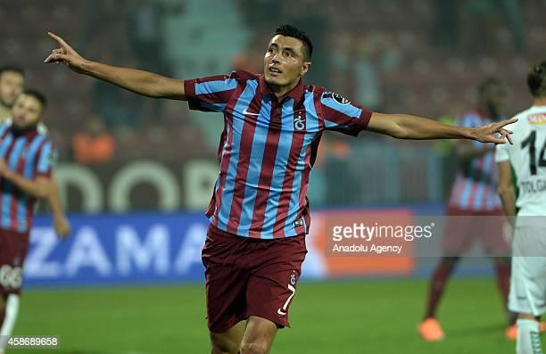 Oscar Cardozo of Trabzonspor celebrates after scoring a goal during Turkish Spor Toto Super League football match between Trabzonspor and Torku...