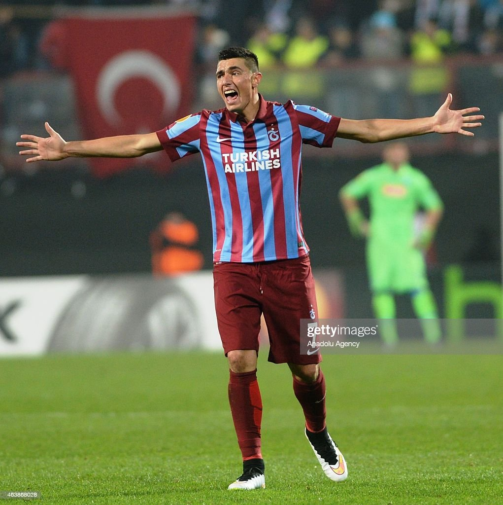 Oscar Cardozo of Trabzonspor reacts during UEFA Europa League match between Trabzonspor and Napoli at Huseyin Avni Aker Stadium in Trabzon, Turkey on February 19, 2015.
