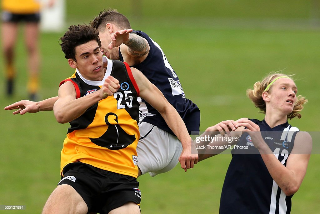Oscar Clavarino of the Dandenong Stingrays punches the ball away during the round eight TAC Cup match between Dandenong Stingrays and Geelong Falcons at Shepley Oval on May 29, 2016 in Melbourne, Australia.