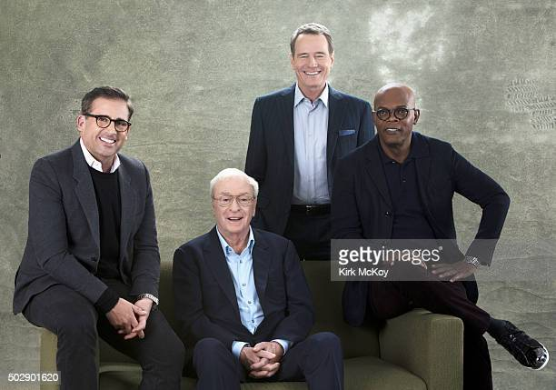 Oscar contenders for Lead Actor Michael Caine Samuel L Jackson Steve Carell Bryan Cranston are photographed for Los Angeles Times on November 14 2015...