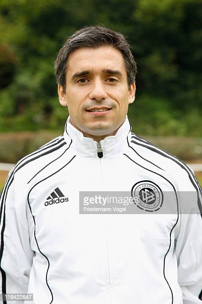 Oscar Corrochano poses during the DFB Training Course at the HennesWeisweilerAkademie on July 20 2011 in Hennef Germany