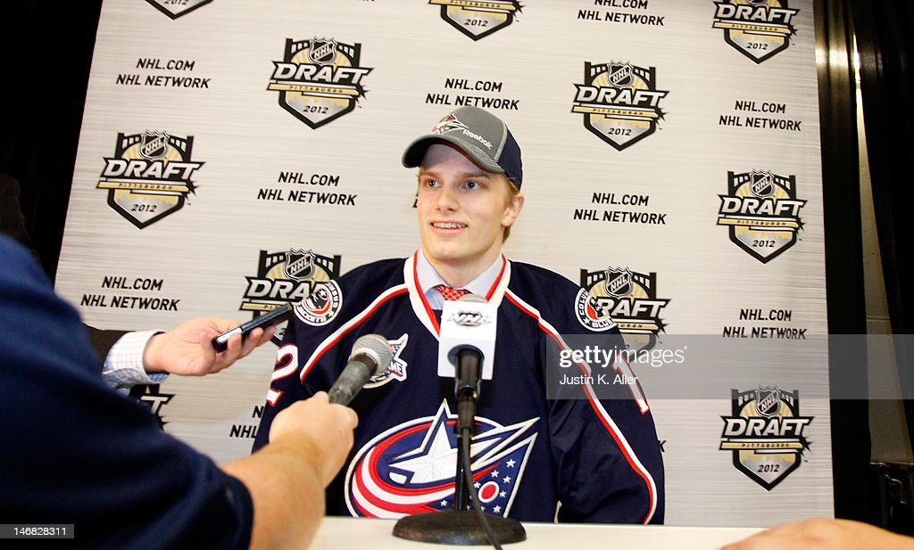 Oscar Dansk, 31st overall pick by the Columbus Blue Jackets, speaks to the press during day two of the 2012 NHL Entry Draft at Consol Energy Center on June 23, 2012 in Pittsburgh, Pennsylvania.