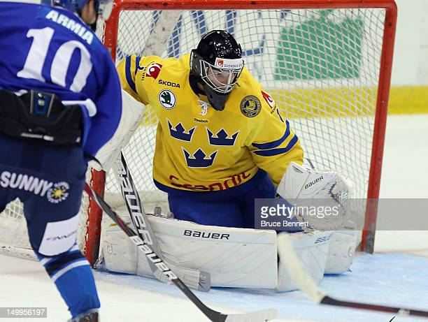 Oscar Dansk of Team Sweden skates against Team Finland at the USA hockey junior evaluation camp at the Lake Placid Olympic Center on August 7 2012 in...