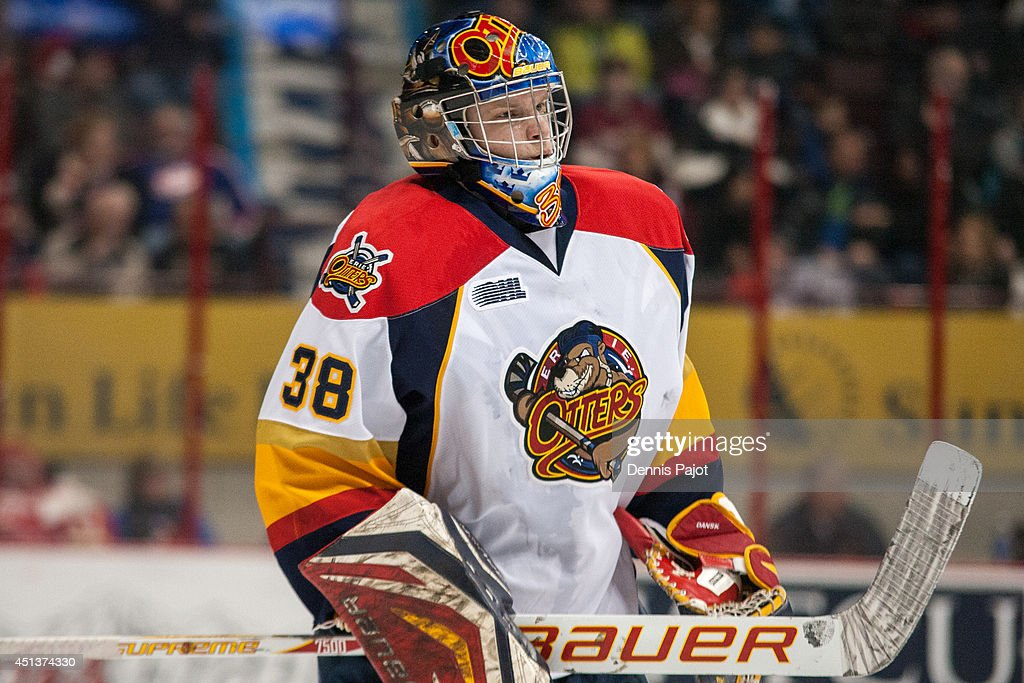 <a gi-track='captionPersonalityLinkClicked' href=/galleries/search?phrase=Oscar+Dansk&family=editorial&specificpeople=8613152 ng-click='$event.stopPropagation()'>Oscar Dansk</a> #38 of the Erie Otters skates against the Windsor Spitfires on March 13, 2014 at the WFCU Centre in Windsor, Ontario, Canada.