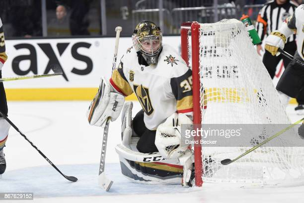 Oscar Dansk of the Vegas Golden Knights defends his goal against the Colorado Avalanche during the game at TMobile Arena on October 27 2017 in Las...