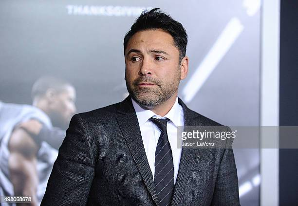 Oscar De La Hoya attends the premiere of 'Creed' at Regency Village Theatre on November 19 2015 in Westwood California