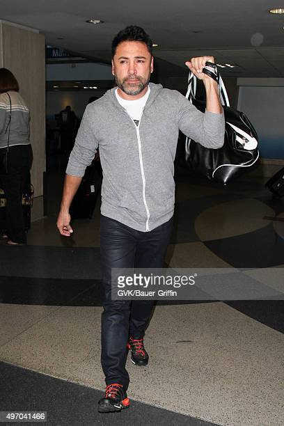 Oscar De La Hoya is seen at LAX on November 13 2015 in Los Angeles California