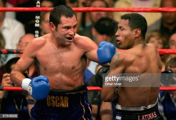 Oscar De La Hoya lands a left hook against Ricardo Mayorga during the WBC super welterweight title fight at the MGM Grand Garden Arena May 6 2006 in...