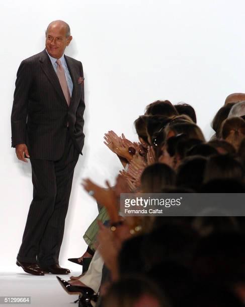 Oscar De La Renta is seen on the runway after the Oscar De La Renta Spring 2005 fashion show during the Olympus Fashion Week Spring 2005 at Bryant...